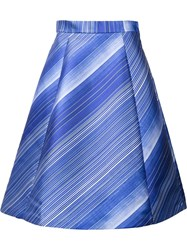 Vika Gazinskaya Striped Pleated Skirt Blue