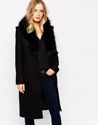 Supertrash Orora Wool Coat With Faux Fur Collar Black