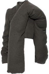Rick Owens Woman Doll Mantle Cropped Camel Hair And Linen Blend Down Jacket Gray