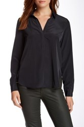 Zoa Roll Sleeve Collared Blouse Black