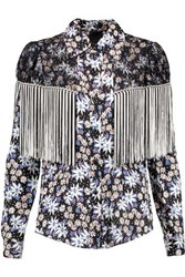 Anna Sui Oops A Daisy Fringed Lace Paneled Printed Silk Blend Jacquard Blouse Multicolor