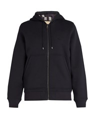 Burberry House Check Lined Hooded Sweatshirt Navy