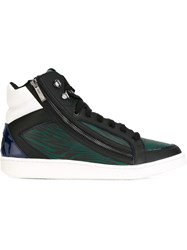 Just Cavalli Panelled Zipped Hi Top Sneakers