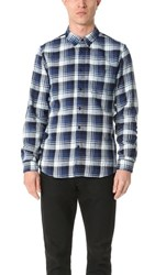 Levi's Made And Crafted Flannel Shirt Navy White