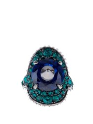 Gucci Stud And Crystal Embellished Ring Green Multi