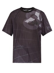 Y 3 Logo Perforated Jersey Football T Shirt Black