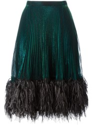 Marco De Vincenzo Feather Trim Pleated Skirt Green