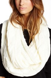 Ivanka Trump Double Twisted Cable Knit Infinity Scarf White