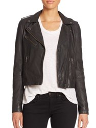 Doma Washed Leather Moto Jacket Black