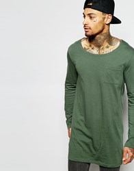 Asos Super Longline Long Sleeve T Shirt With Boat Neck And Pocket Green