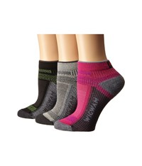 Wigwam Ultra Cool Lite Low 3 Pack Grey Pink Scample Black Women's Crew Cut Socks Shoes Gray