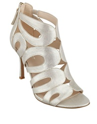 Nine West Flora Caged Leather Booties Gold