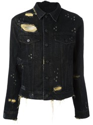 Filles A Papa Frayed Effect Denim Jacket Black