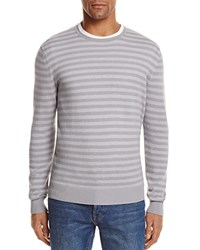 Bloomingdale's The Men's Store At Stripe Cotton Blend Crewneck Sweater Gray