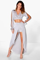 Boohoo Slinky Crop And Split Front Maxi Co Ord Grey