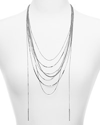 Aqua Darcy Mixed Chain Layered Necklace 22 Silver