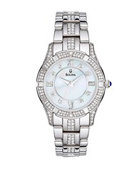 Bulova Ladies Swarovski Crystal Bracelet Watch Silver