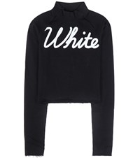 Off White Printed Cotton Sweatshirt Black