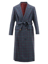 E. Tautz Double Breasted Checked Wool Twill Overcoat Multi
