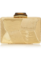 Kotur Deco Embossed Gold Tone Clutch
