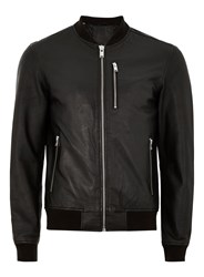 Selected Homme's Black Leather Bomber Jacket