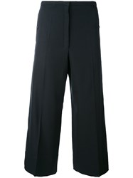 Christophe Lemaire Cropped Trousers Women Cotton Cupro Virgin Wool 38 Blue