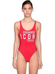 Dsquared Printed Lycra One Piece Swimsuit Red