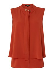 Therapy Isla Pussybow Sleeveless Top Burnt Orange