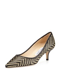 Jimmy Choo Aza Woven Leather Kitten Heel Pump Black Gold