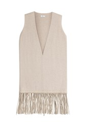 Vince Wool Cashmere Vest With Leather Fringe Beige