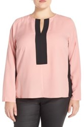Eloquii Colorblock Split Neck Blouse Plus Size Pink