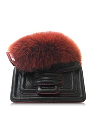 Pierre Hardy Alpha Plus Black And Red Leather Handbag W Fur Detail