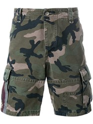Valentino Camouflage Cargo Shorts Green
