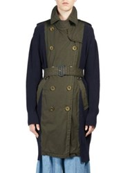 Sacai Overdyed Cotton Knit Trench Khaki Navy