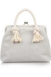 Clare V. Franc Rope Trimmed Perforated Leather Tote