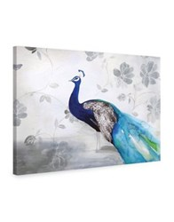 Marmont Hill Peacock Fable Cool Painting Print On Wrapped Canvas Grey