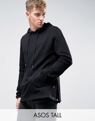 Asos Tall Hoodie With Side Poppers In Black Black