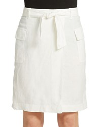 Lord And Taylor Linen Faux Wrap Skirt White