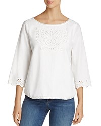 Nydj Eyelet Blouse Optic White