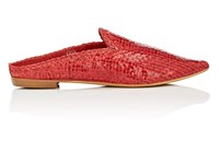 Barneys New York Woven Leather Mules Red