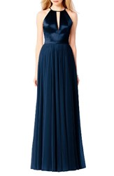 After Six Women's Satin And Chiffon Gown Midnight