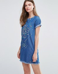 Pepe Jeans Martha Denim Embroidered Dress Blue