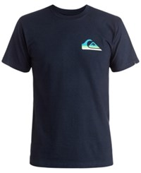 Quiksilver Men's New Neon Graphic Print Logo T Shirt Navy