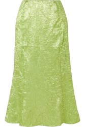 The Line By K Grace Crinkled Satin Midi Skirt Green