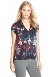 Adrianna Papell Print Pleat Shoulder Top Navy Multi