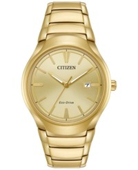 Citizen Men's Eco Drive Dress Gold Tone Stainless Steel Bracelet Watch 40Mm Aw1552 54P No Color