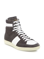 Yves Saint Laurent Colorblock Suede And Leather High Top Sneakers Grey