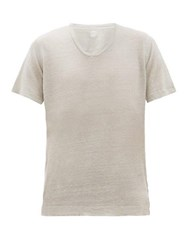 120 Lino V Neck Slubbed Linen Jersey T Shirt Grey