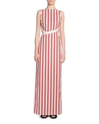 Striped Apron Maxi Dress Red White Red White