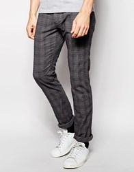 Esprit Skinny Fit Check Trousers In Grey